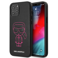 Karl Lagerfeld Apple iPhone 12 Pro Max Roze Backcover hoesje - Embossed