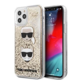 Karl Lagerfeld Apple iPhone 12 / 12 Pro Goud Backcover hoesje - Liquid Glitter