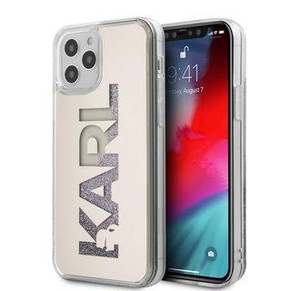Karl Lagerfeld Apple iPhone 12 / 12 Pro Zilver Backcover hoesje - Liquid Glitter