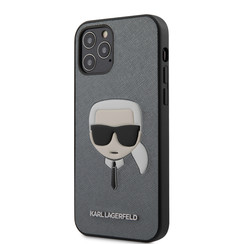 Karl Lagerfeld Apple iPhone 12 / 12 Pro Zilver Backcover hoesje - Saffiano