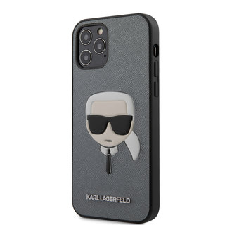 Karl Lagerfeld Apple iPhone 12 / 12 Pro Silver Back cover case - Saffiano