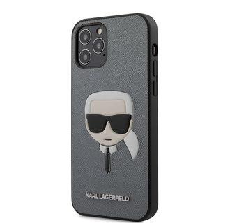 Karl Lagerfeld Apple iPhone 12 / 12 Pro Zilver Backcover hoesje - Saffiano