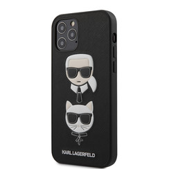 Karl Lagerfeld Apple iPhone 12 / 12 Pro zwart Backcover hoesje - Saffiano