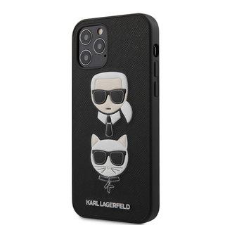 Karl Lagerfeld Apple iPhone 12 / 12 Pro zwart Backcover hoesje - Saffiano