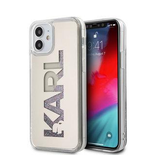 Karl Lagerfeld Apple iPhone 12 Mini Zilver Backcover hoesje - Liquid Glitter