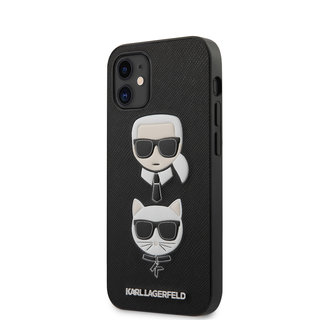 Karl Lagerfeld Apple iPhone 12 Mini zwart Backcover hoesje - Saffiano