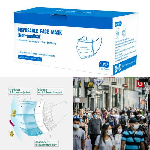 Andere merken 50x Niet-Medische Mondkapjes 3-laags wegwerp mondmaskers - Blauw