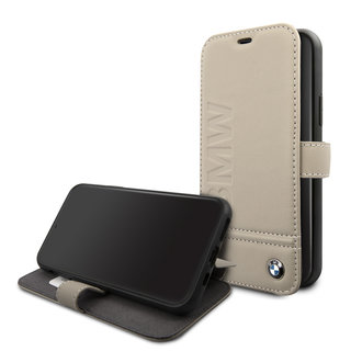 BMW Apple iPhone 11 Taupe Book type case - Genuine Leather