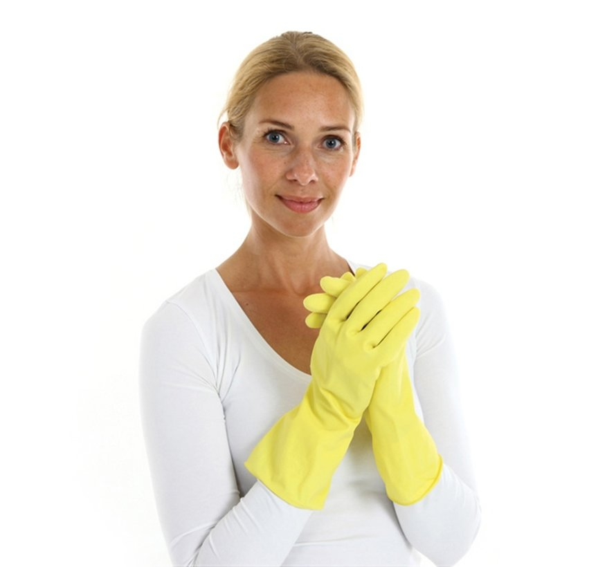 Rubberen huishoudhandschoenen premium geel 144 stuks