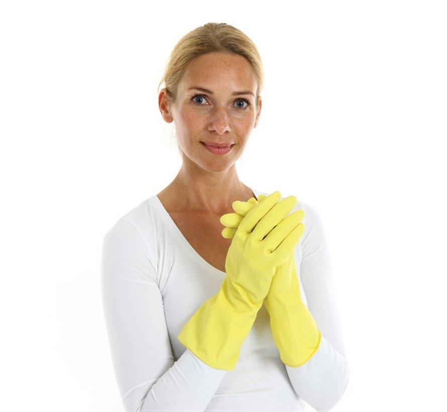 Rubberen huishoudhandschoenen standaard geel 144 stuks