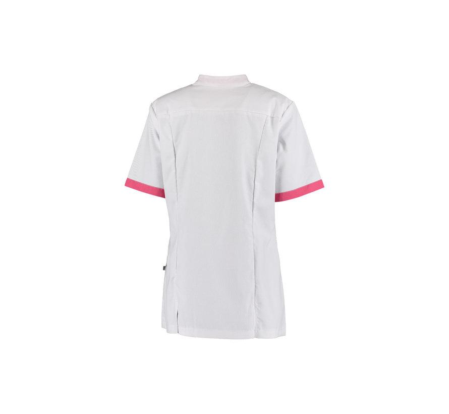 Haen Florien zorgjas dames stretch wit met shocking pink contrast