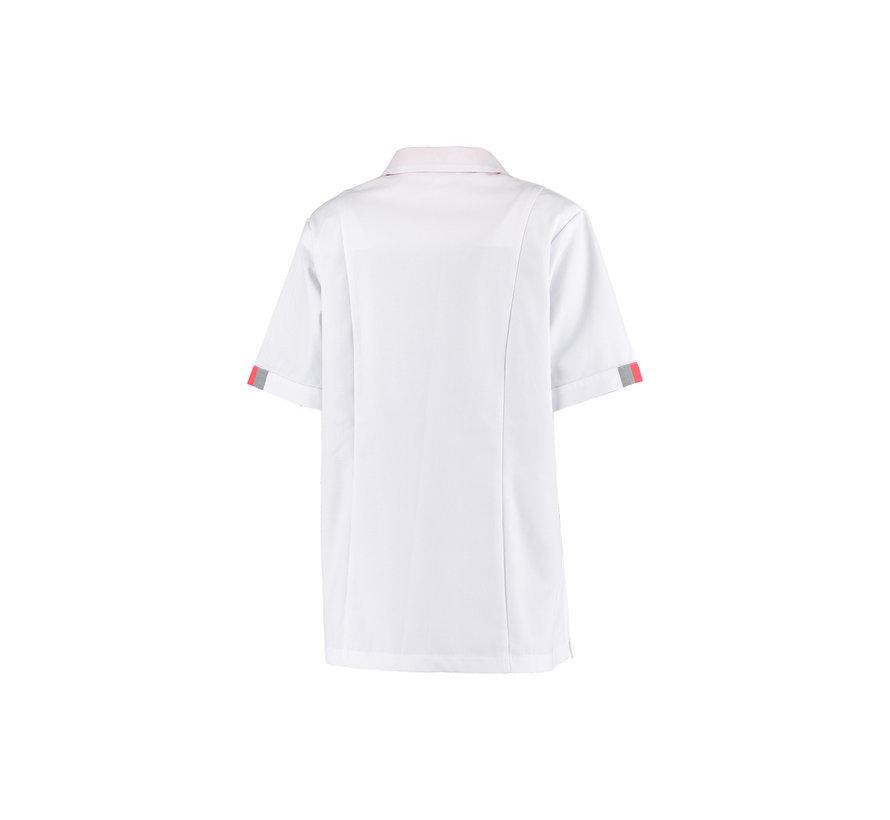 Haen Paulien stretch zorgjas dames wit met grey cross en oriënt pink