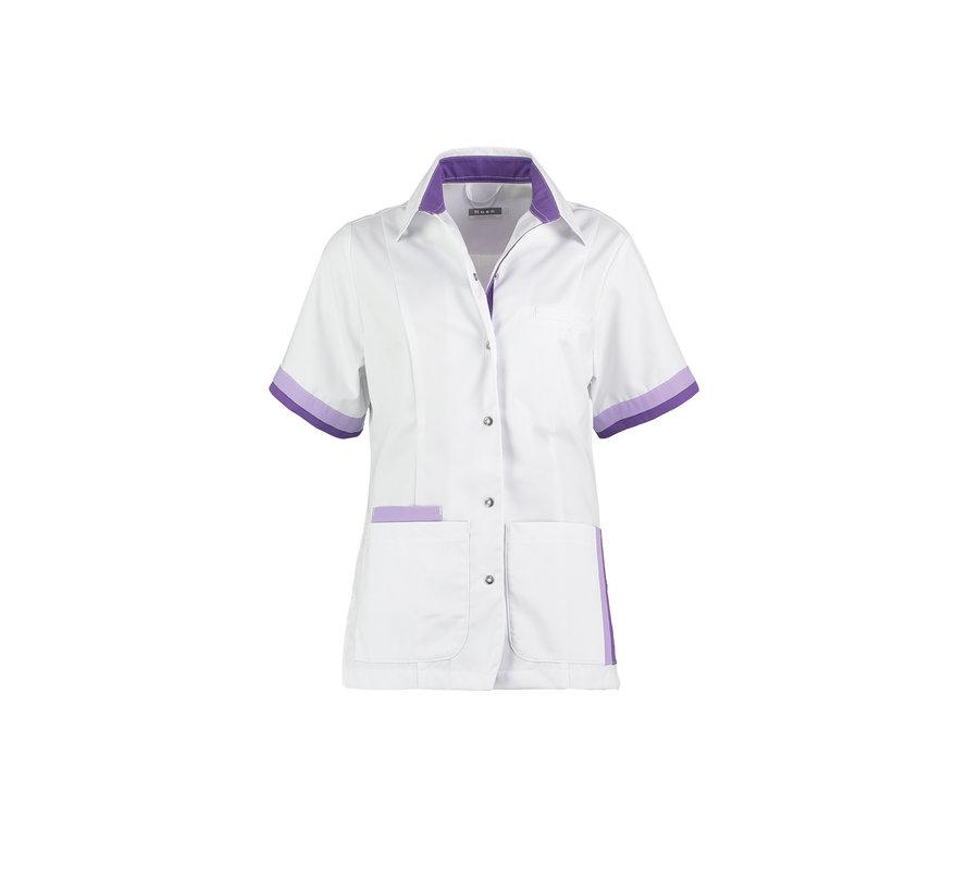 Haen Bente zorgjas dames  wit met lilac - petunia contrast
