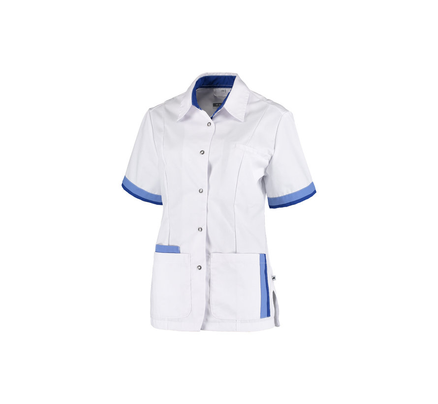 Haen Bente zorgjas dames wit met metro blue - royal blue contrast