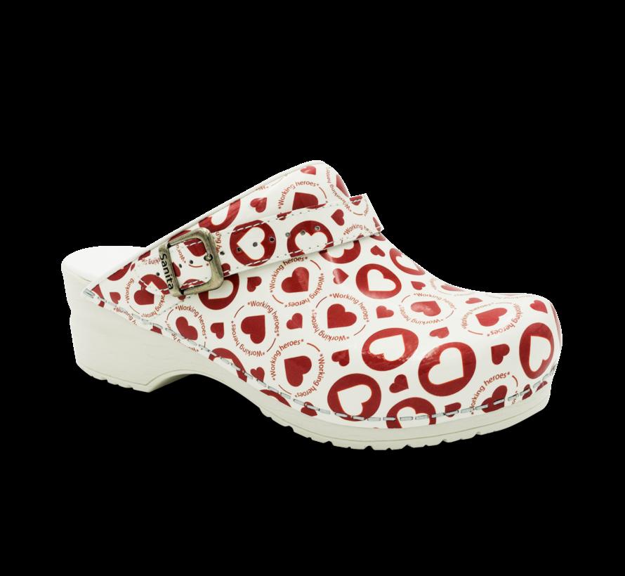 Sanita klompen Flex Working Heroes rood-wit met riempje model 38