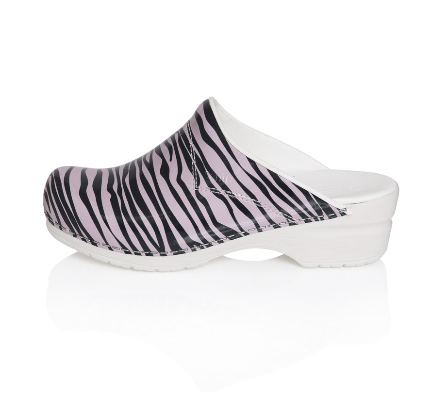 Sanita klompen Flex Wildlife Zebra roze-zwart model 314