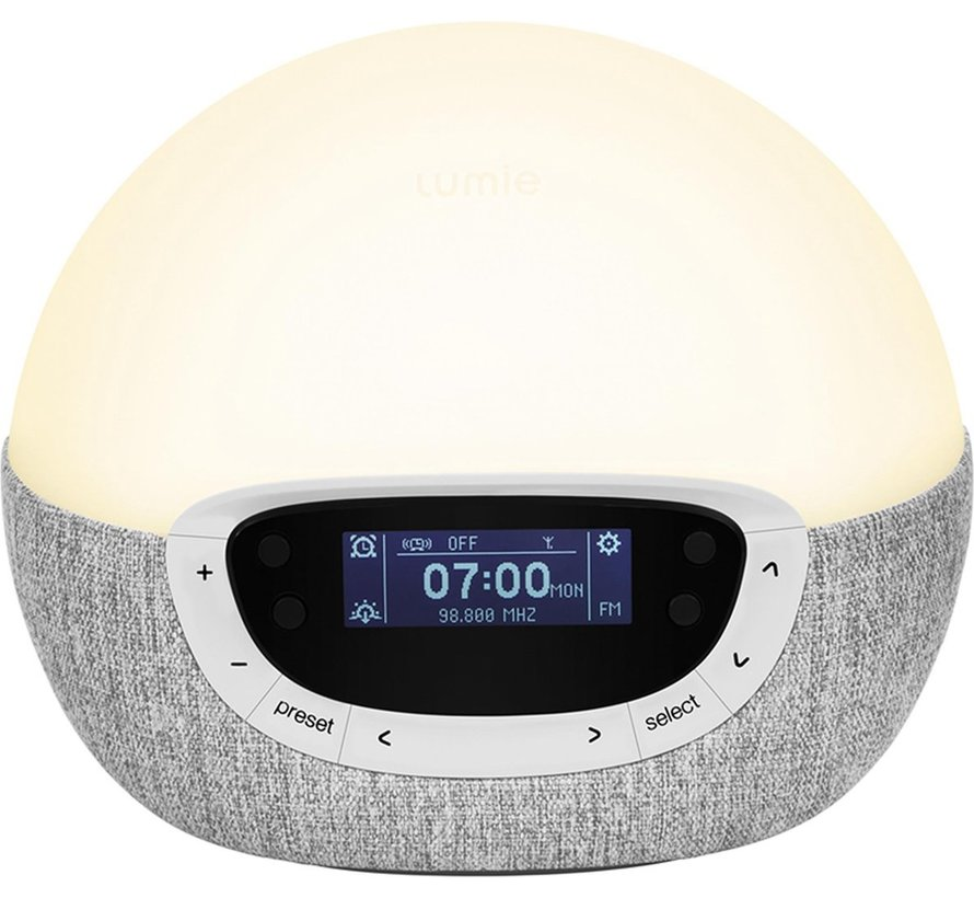 Lumie Bodyclock Shine 300 - Wake-up light - FM radio - Grijs