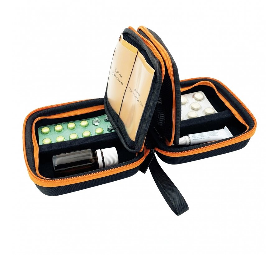 Pillbase Travel mini  zwart/oranje