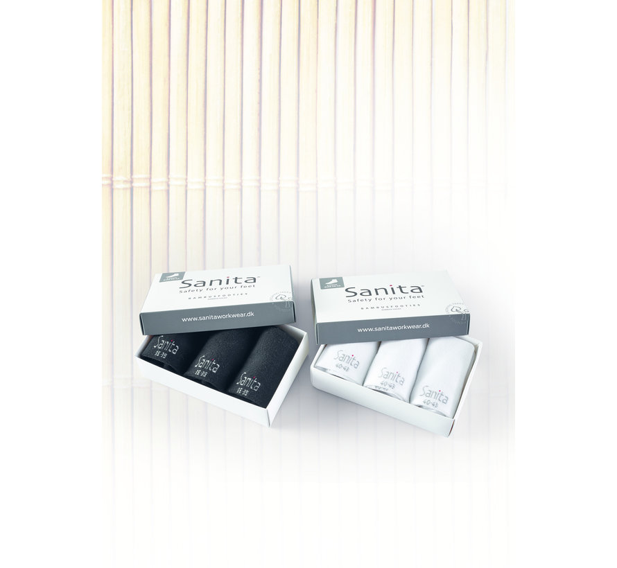Sanita Bamboe zorgsokken Footies wit enkelsok 3-pack