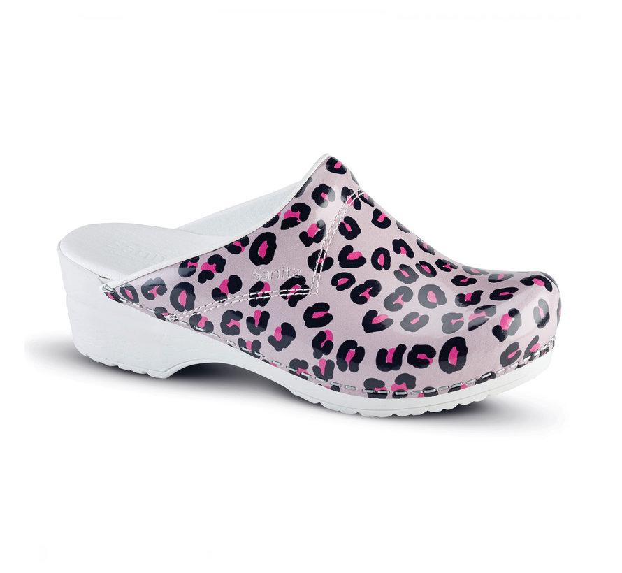 Sanita klompen Flex Wildlife Leopard roze nature model 314