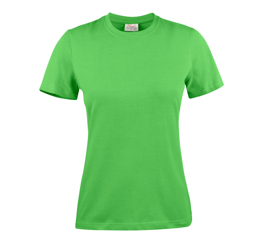 Printer Heavy t-shirt dames ronde hals limoengroen