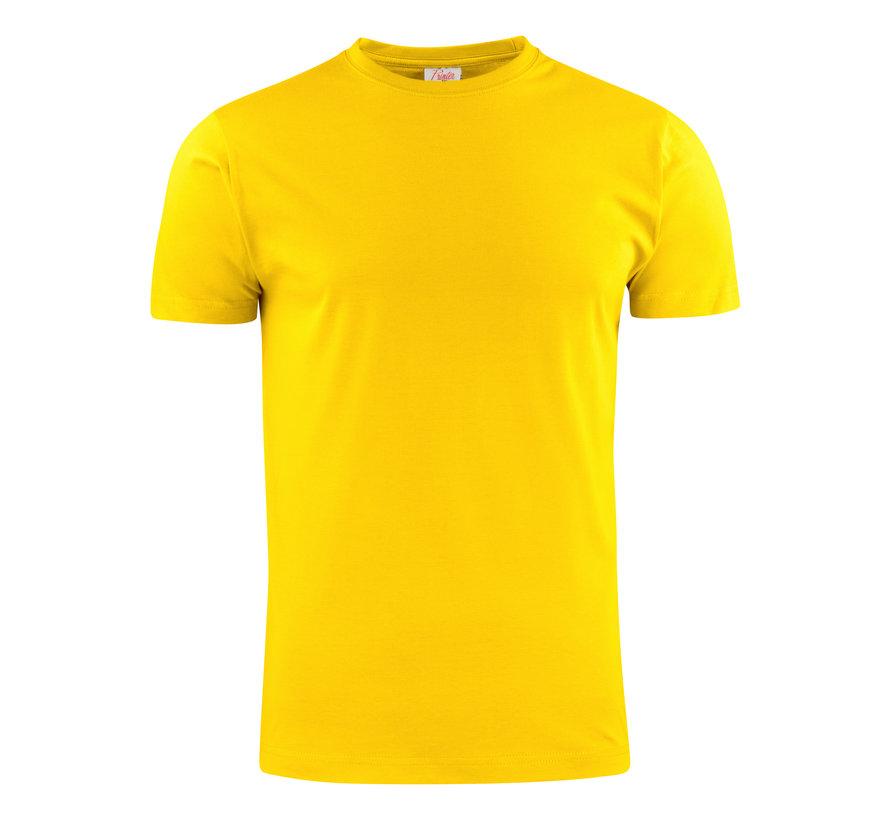 Printer Heavy t-shirt RSX ronde hals citroengeel
