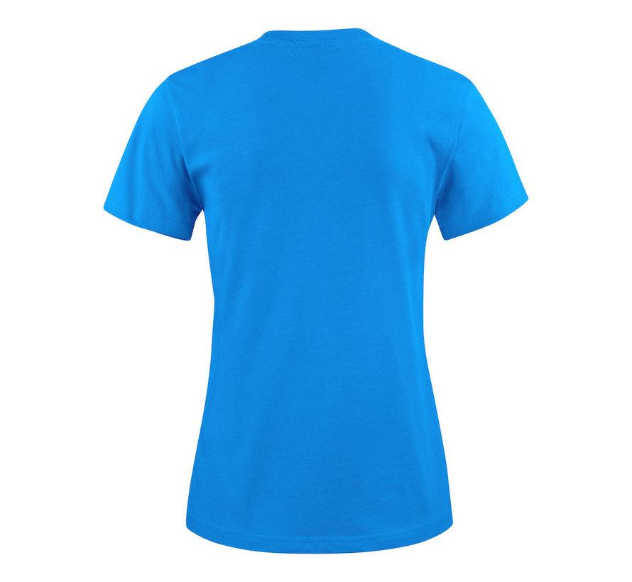 Printer Heavy t-shirt dames ronde hals oceaanblauw
