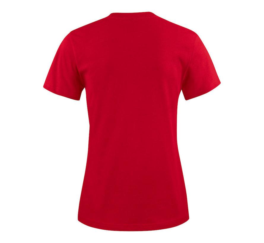 Printer Heavy t-shirt dames ronde hals rood