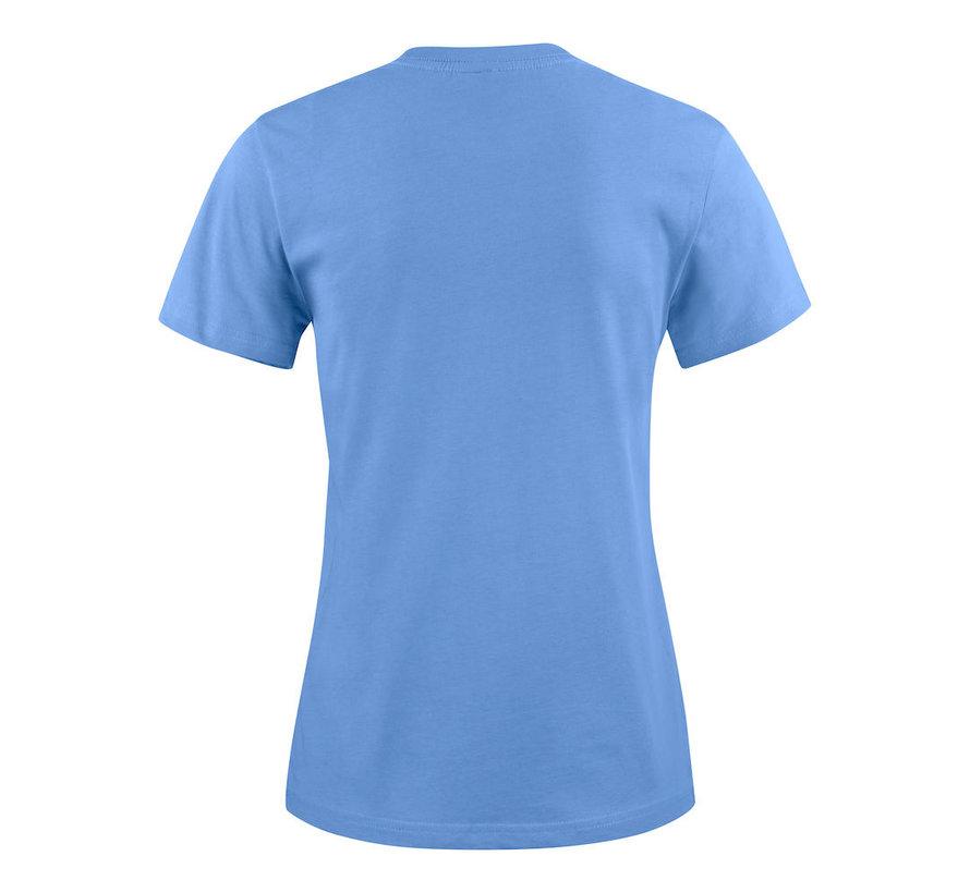 Printer Heavy t-shirt dames ronde hals hemelsblauw