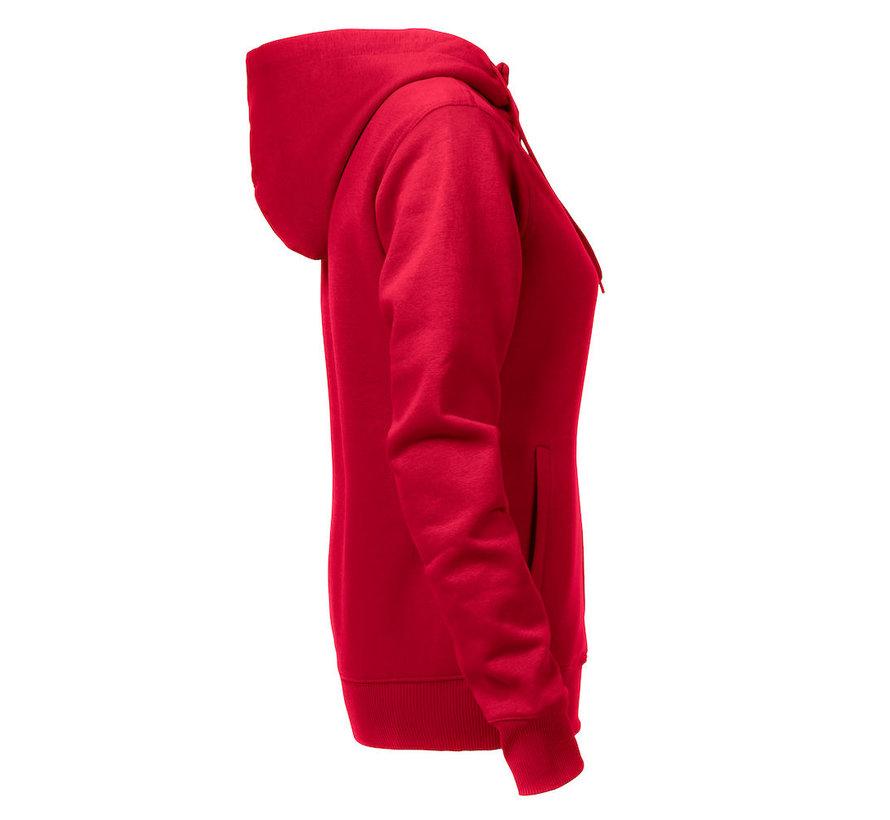 Printer Overhead sweatshirt met capuchon dames rood