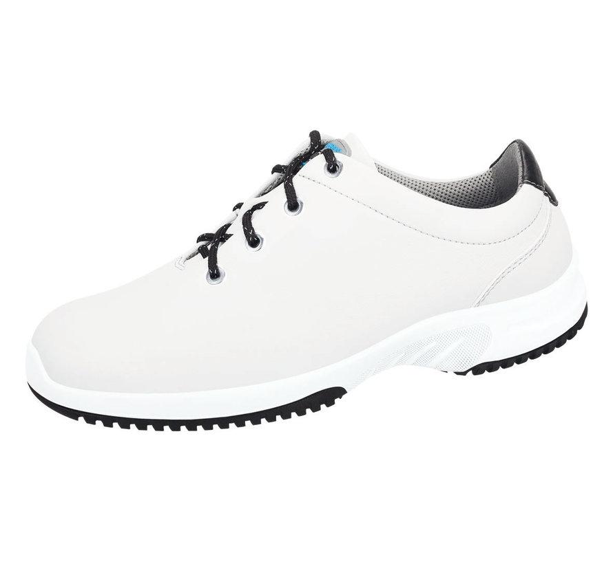 Abeba lage schoenen wit met zwarte accenten
