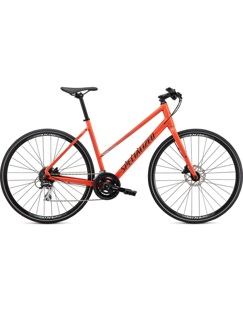 Specialized Specialized 2020 Sirrus 2.0 Step-Through - Gloss Vivid Coral/Summer Blue/Satin Black Reflective