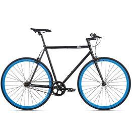 2018 6KU Fixie & Single Speed Bike - Shelby 4 52cm Small Black Frame Blue Wheels