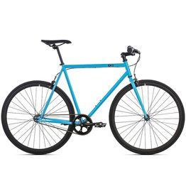 6KU Fixie & Single Speed Bike - Iris 52cm Medium Blue Frame Black Wheels