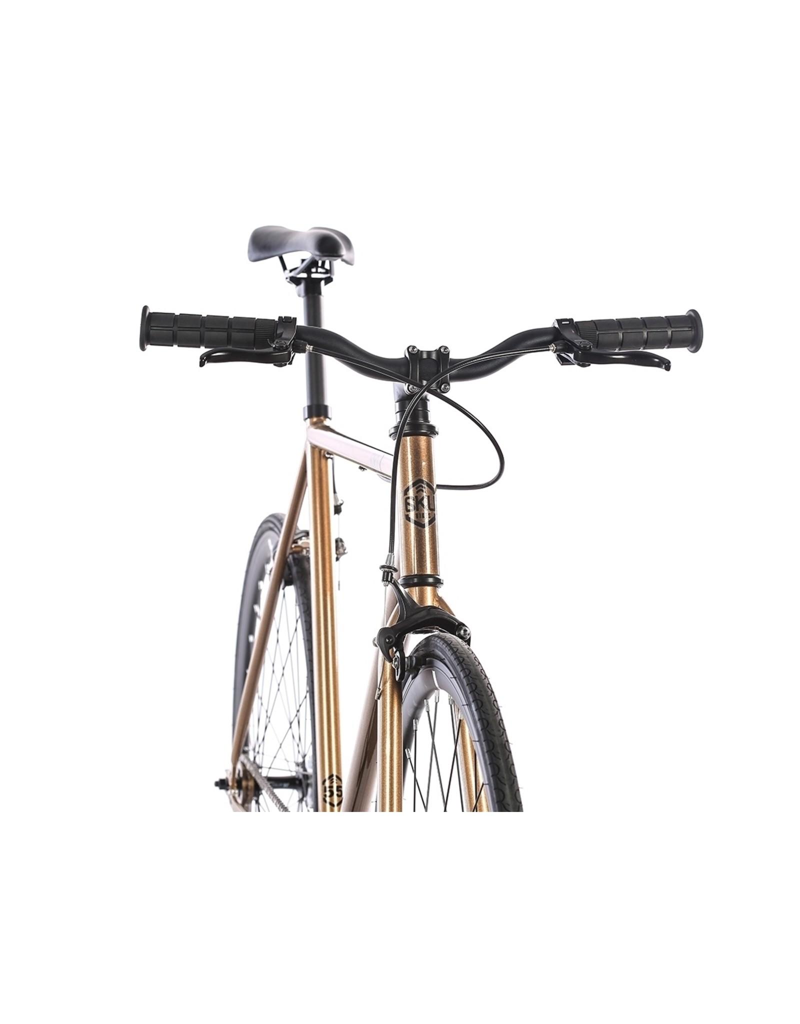 2018 6KU Fixie & Single Speed Bike - Dallas Size:49cm brown / black wheels