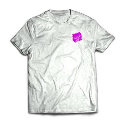 Seabass Cycles Seabass Tshirt White with Wavy Pink Logo
