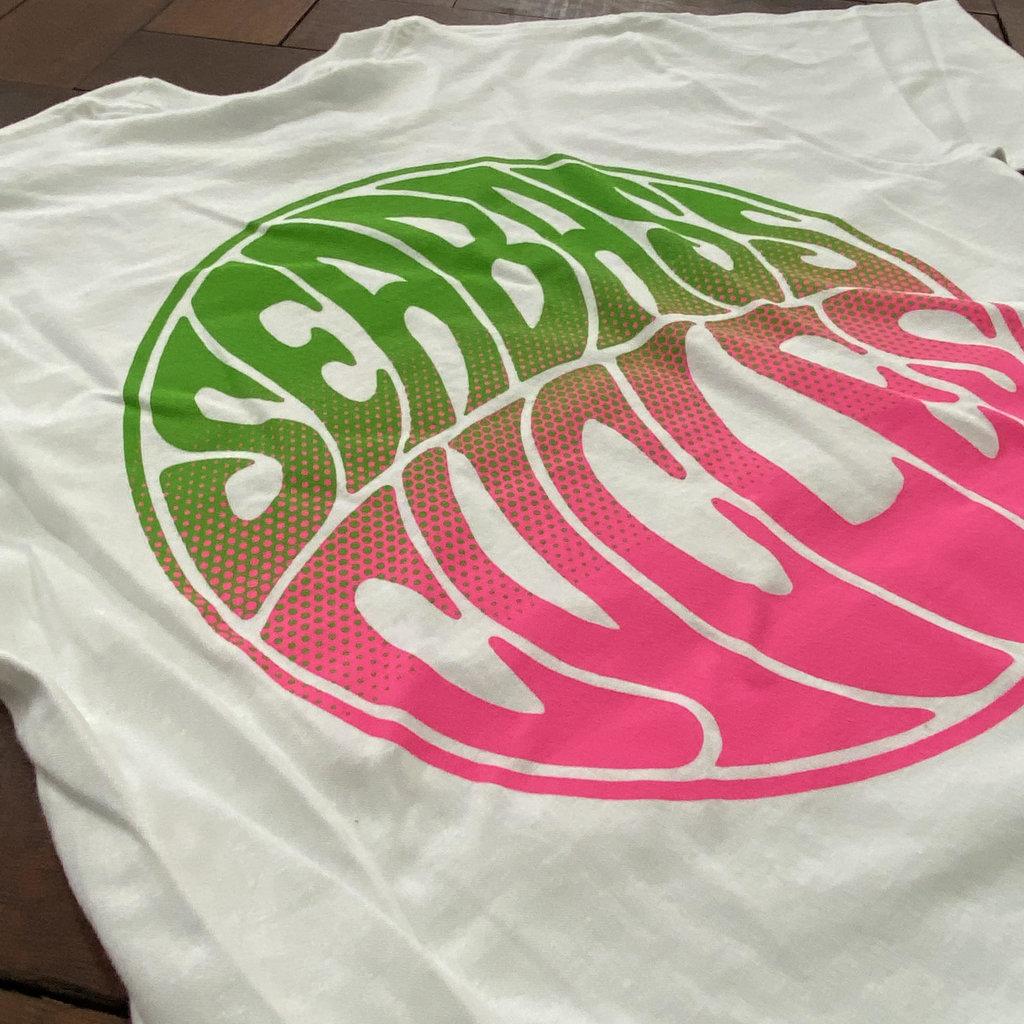 Seabass Cycles Seabass Circle Logo - Pink/Green Fade - White