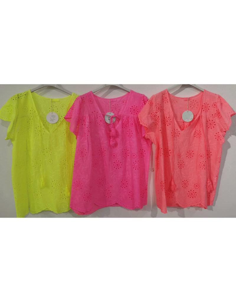 Andere Marken Tunika Bluse Lockstickerei Neon
