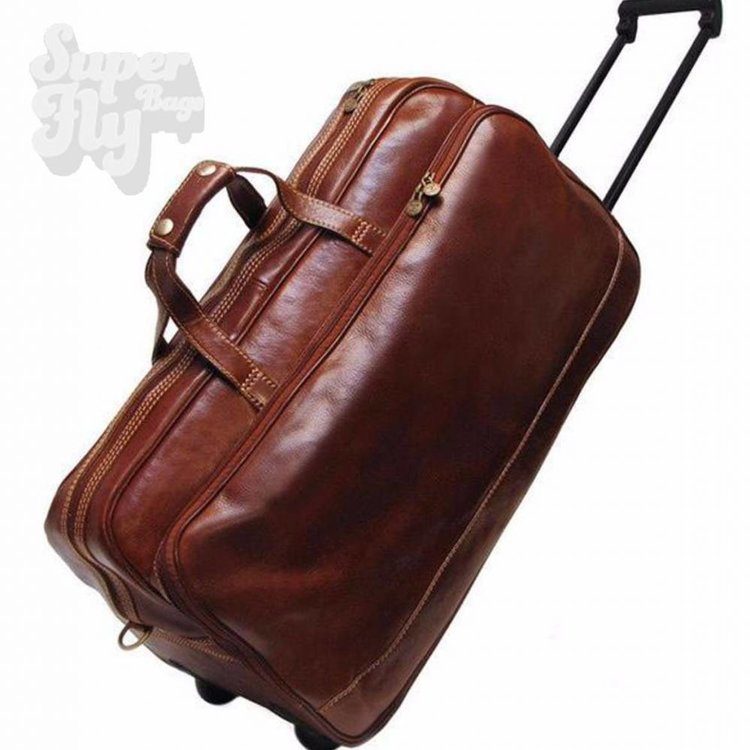 SAB Design Handbagage Trolley leder met logo of naam