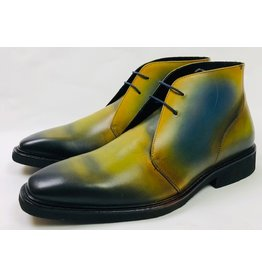 Roel Berkelmans Derby boot extra breed kleur honing-blauw oceaan