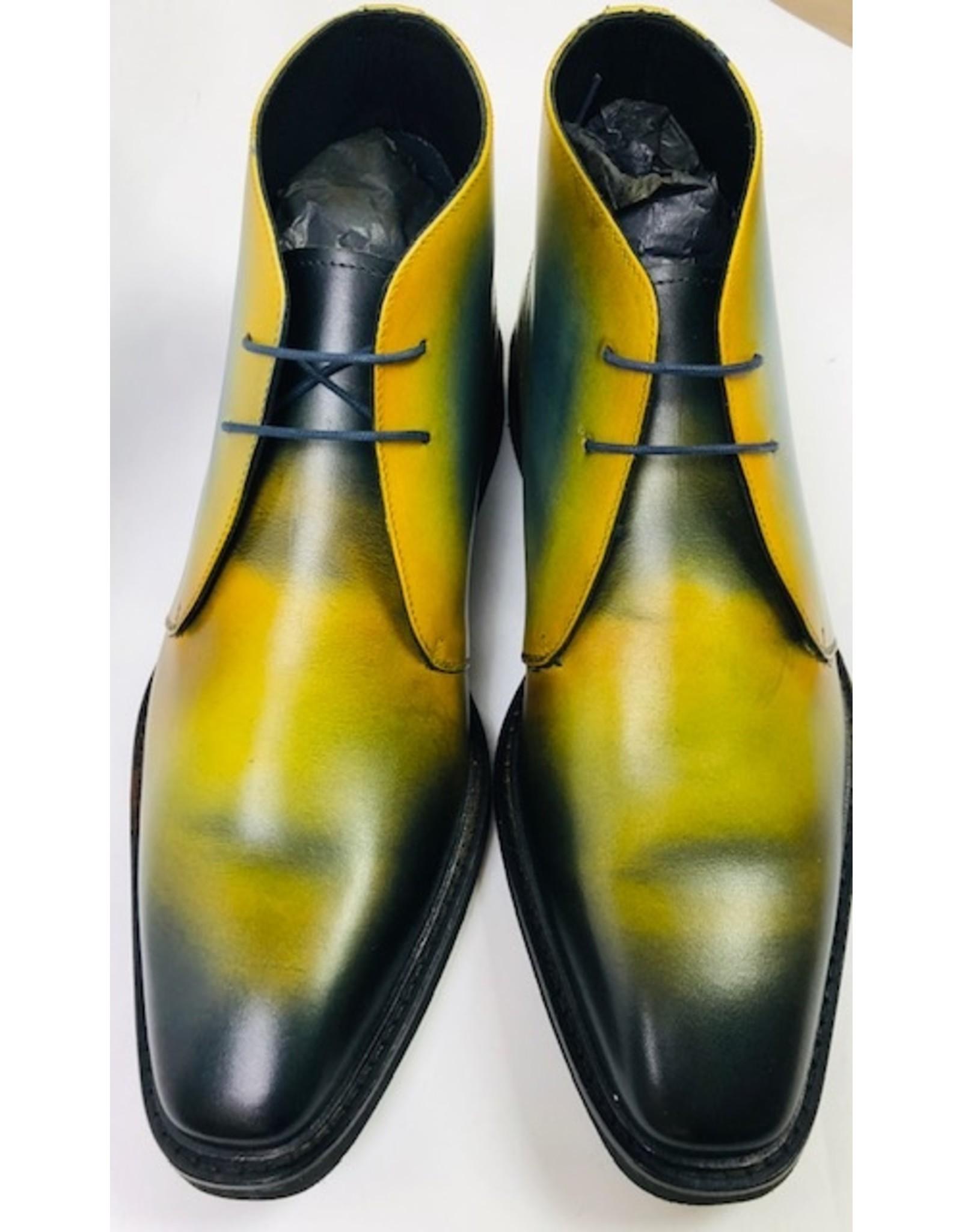Roel Berkelmans Derby boot extra breed (H+) kleur honing- blauw oceaan zool rubber lichtgewicht - Copy