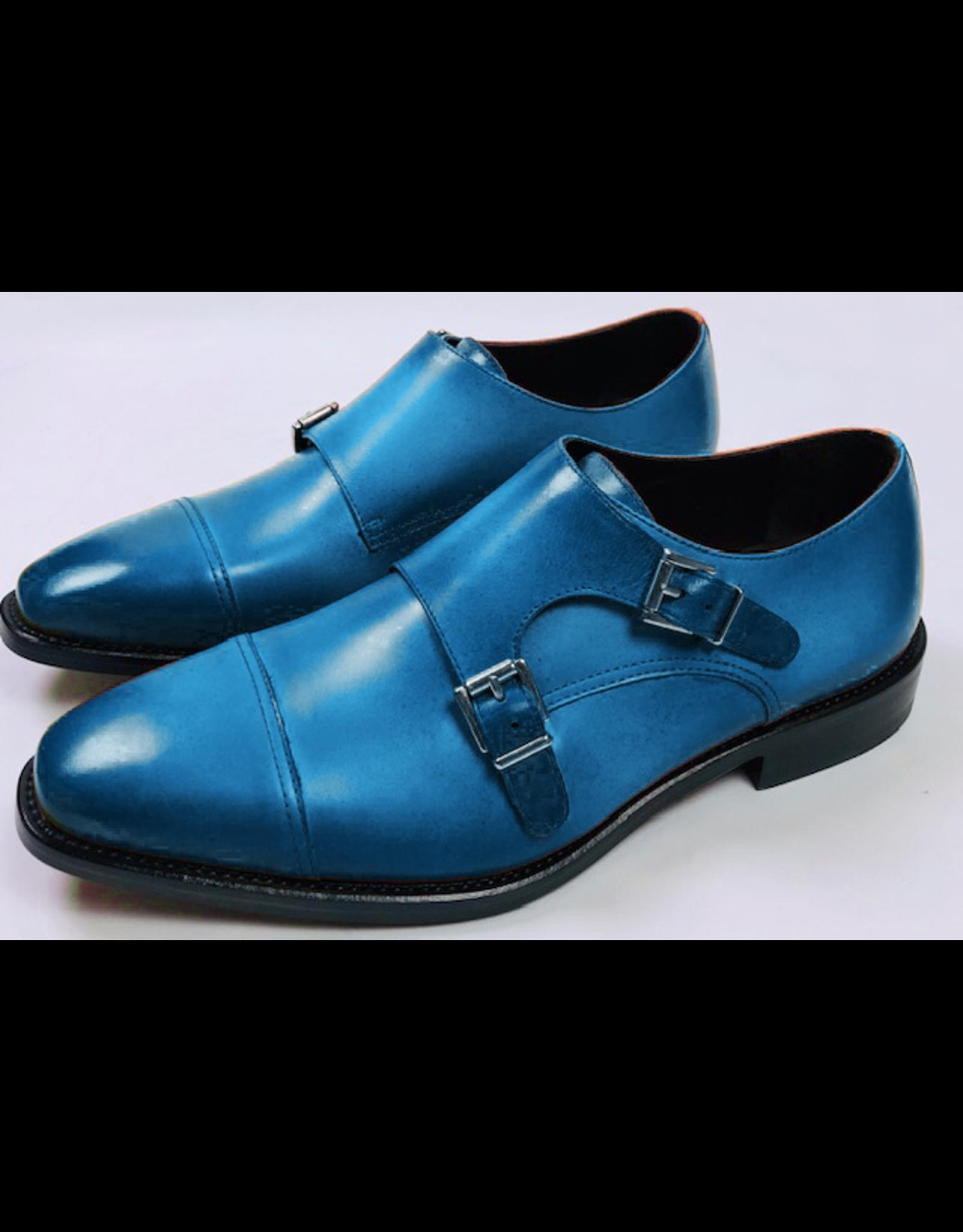 Roel Berkelmans Dubbele gesp brede leest kleur blauw zool leder/tpu