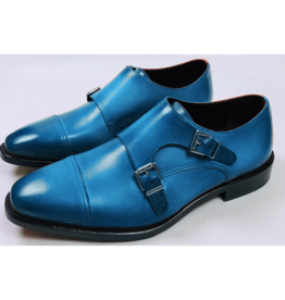 Roel Berkelmans Dubbele gesp brede leest kleur blauw zool leder