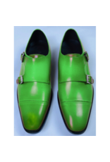 Roel Berkelmans Dubbele gesp brede leest kleur appel groen zool leder/tpu