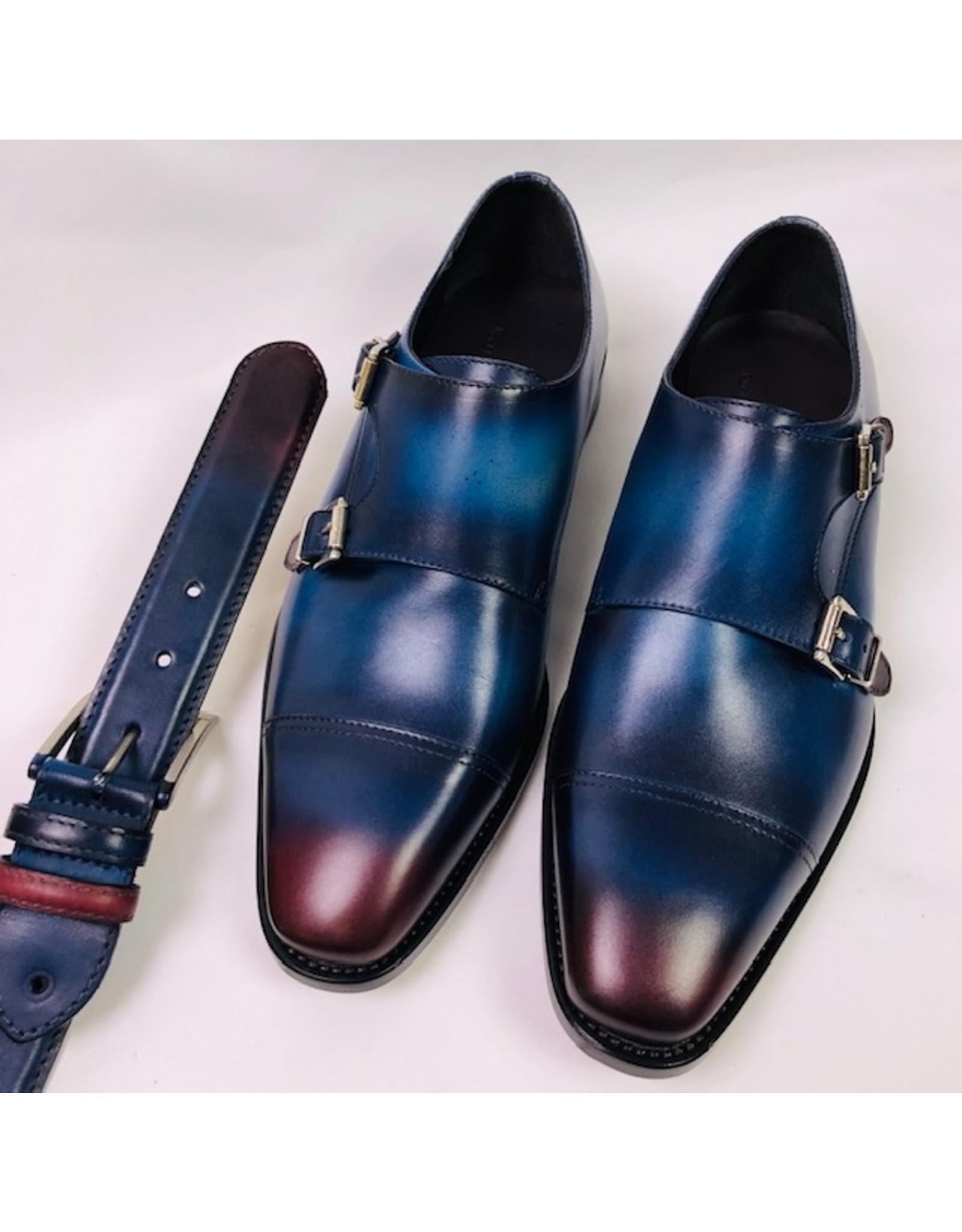 Roel Berkelmans Dubbele gesp brede leest kleur blauw/bordo zool leder/tpu