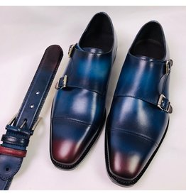 Roel Berkelmans Dubbele gesp brede leest kleur blauw/bordo