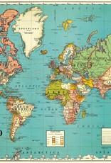 AFFICHE VINTAGE - Carte du Monde No. 4 (70x50cm)