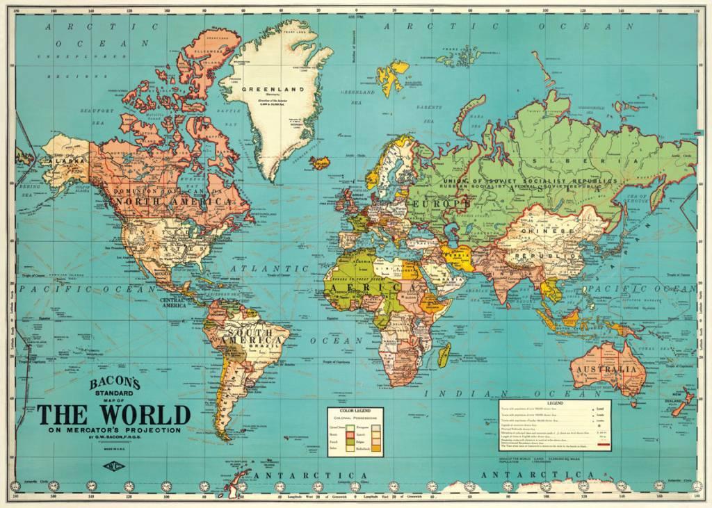 Verwonderend VINTAGE POSTER - World Map No. 4 (70x50cm) - Animaux Spéciaux ZM-03