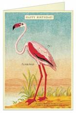 VINTAGE WENSKAART - Happy Birthday - Flamingo