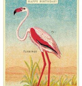 VINTAGE GREETING CARD - Happy Birthday - Flamingo